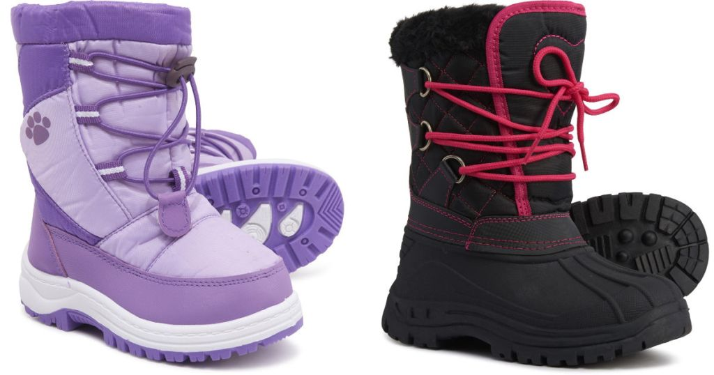 purple and black Sierra Girls Snow Boots