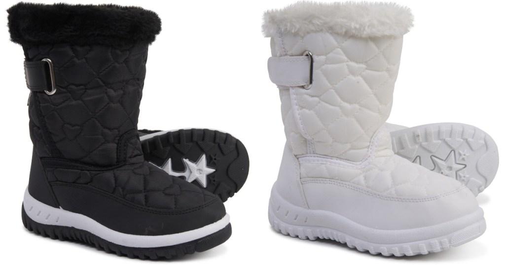 black or white sierra rugged bear snow boots