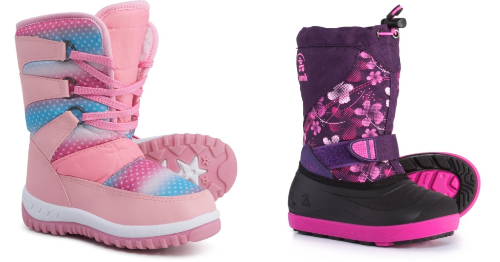 pink rainbow star and black and purple Sierra Rugged Bear and Kamik Snow Boots