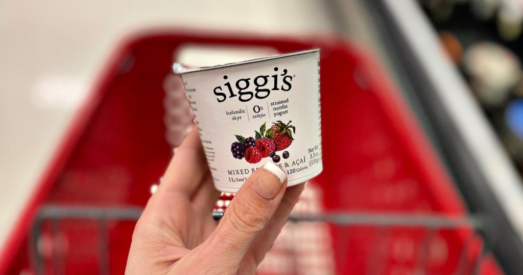 Siggi's Yogurt in Target with shopping cart in background
