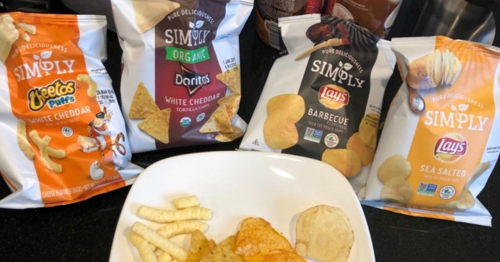 several smaller bags of chips lined up together