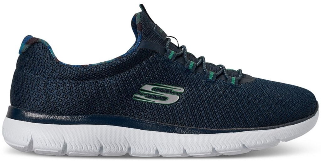 skechers blue walking shoes with logo on side and white soles