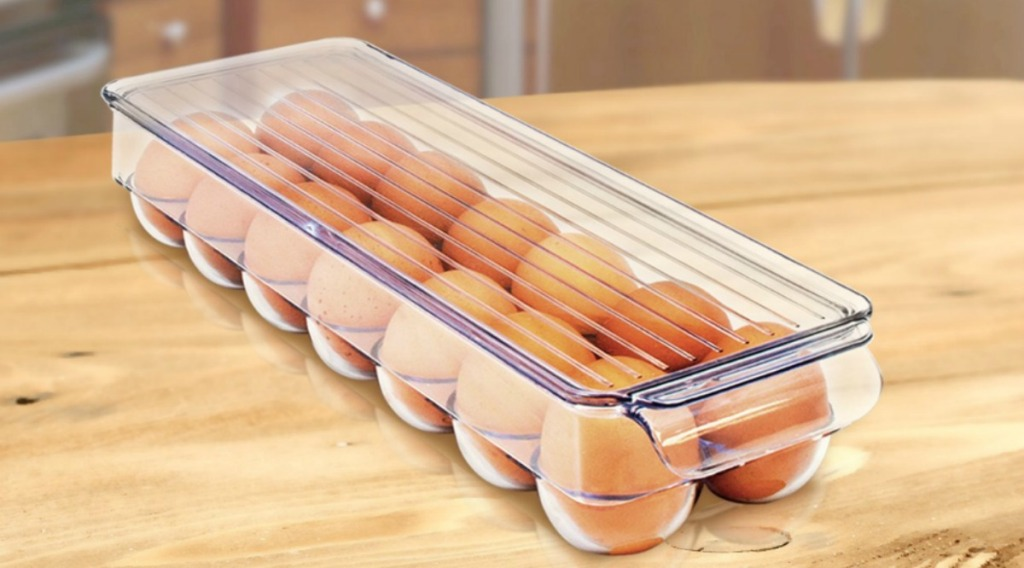 eggs in a clear organizer bin with lid