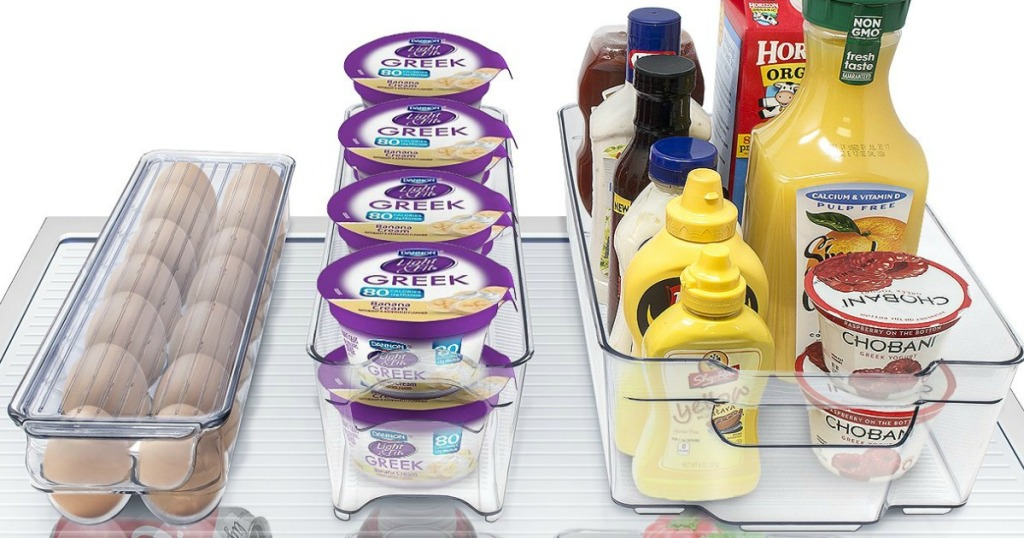 eggs, yogurt and beverages contained in clear bins