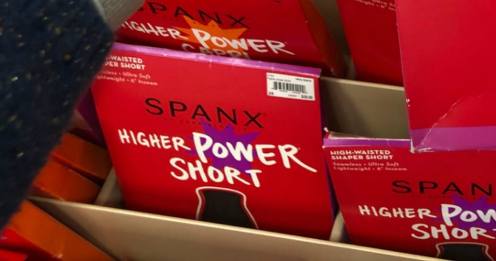 Spanx Power Shorts in package on display in-store