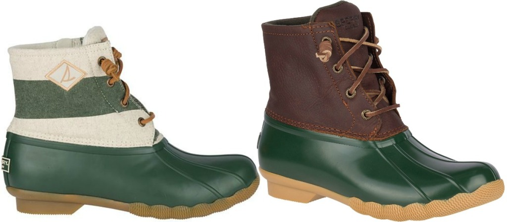 Two styles of women's Sperry brand duck boots