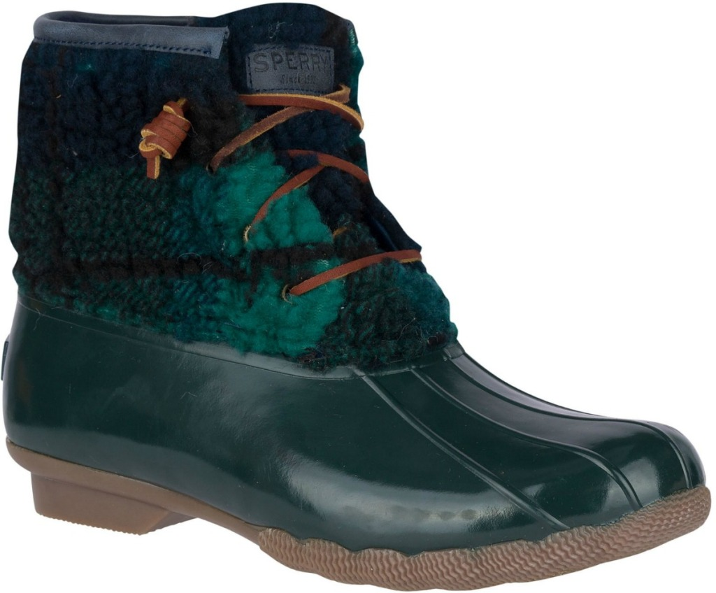 Women's duck boot with sherpa lining and rubber bottom