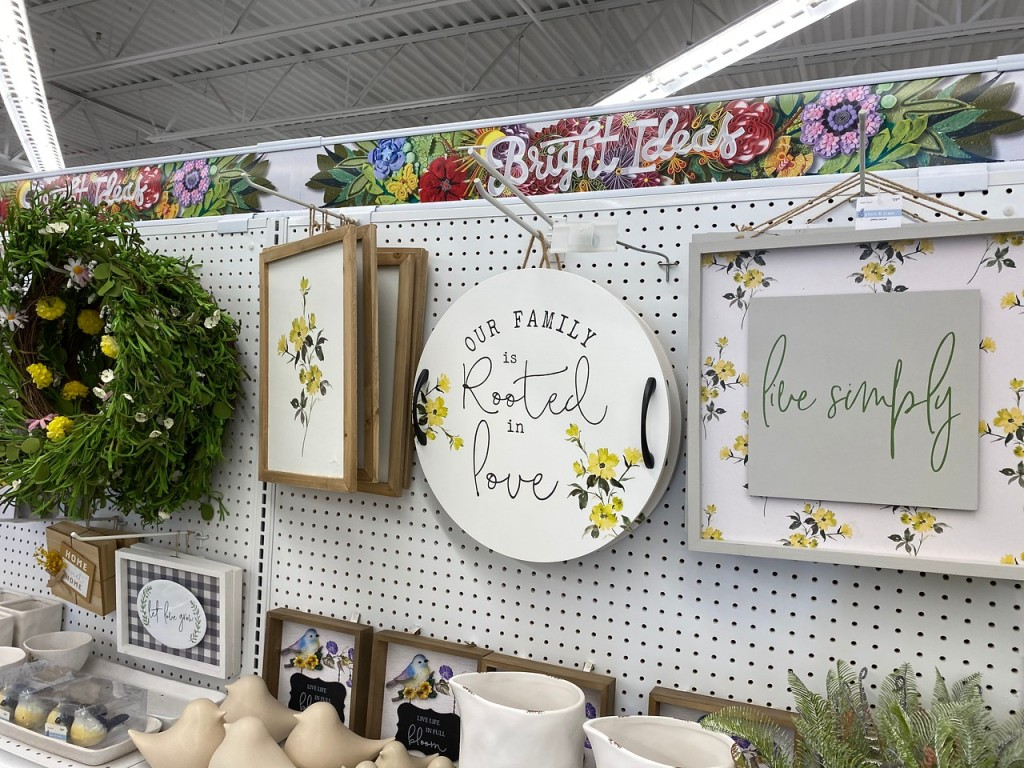 Floral Decor Spring signs hanging at Joann store