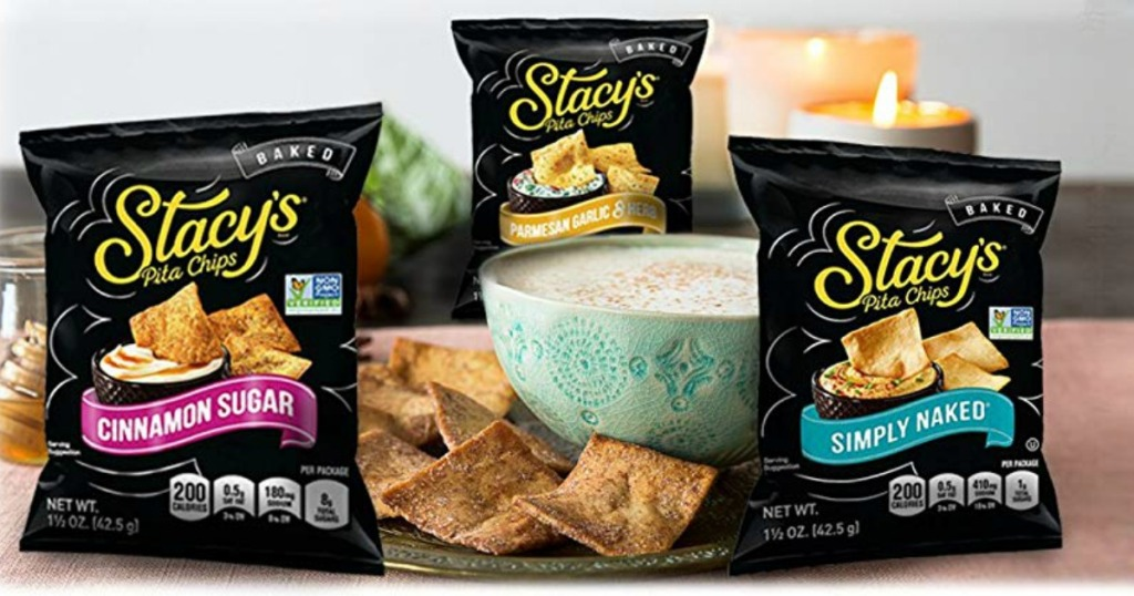 Stacy's Pita Chips on table with dips