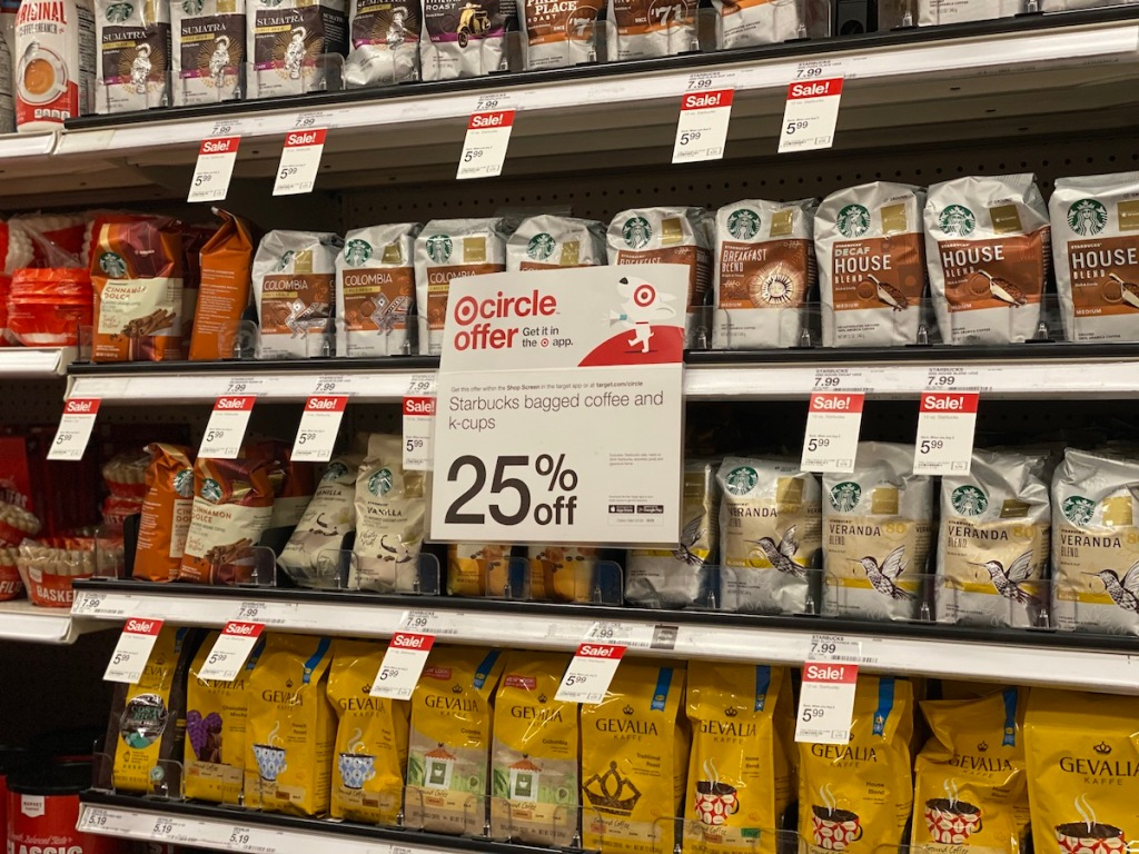 Starbucks bagged coffees on Target shelf with circle offer sign