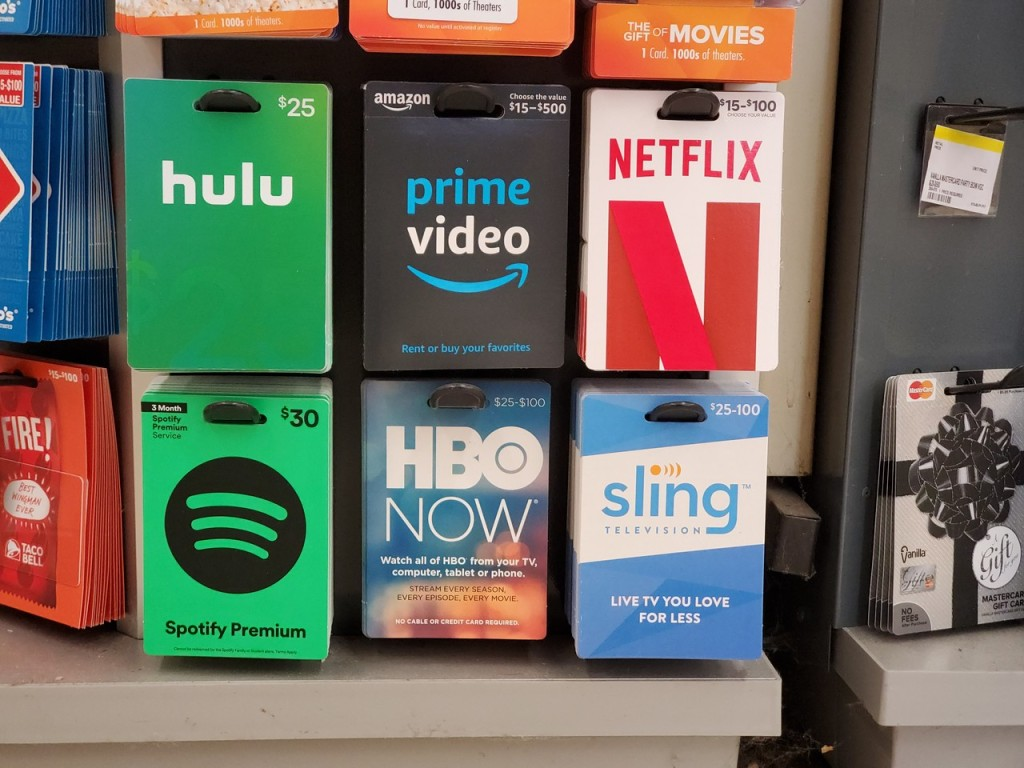Streaming Gift Cards on Walgreens gift card display