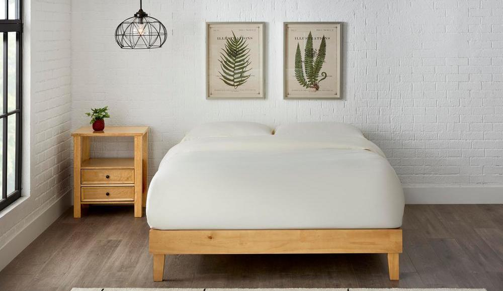 Stylewell Beckdale Platform Bed next to nightstand in bedroom