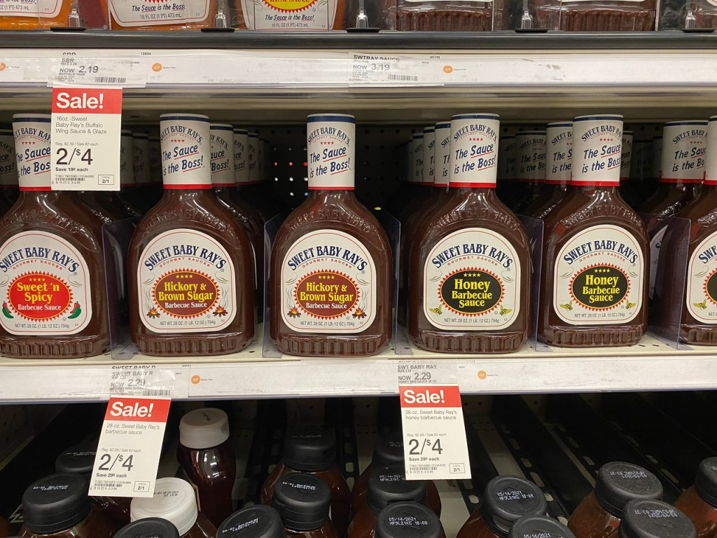 Swet Baby Ray Barbecue Sauces on Target store shelf