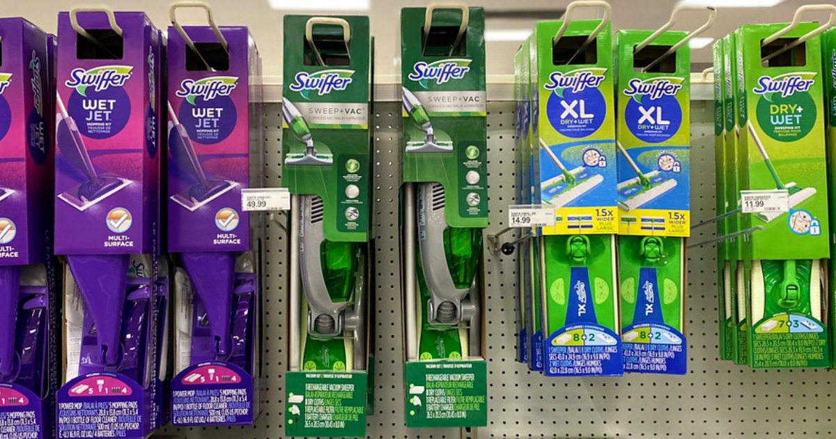 store display of swiffer cleaning vacuums