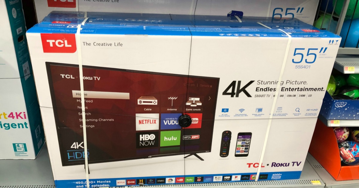 TCL brand TV in box on display on shelf in-store