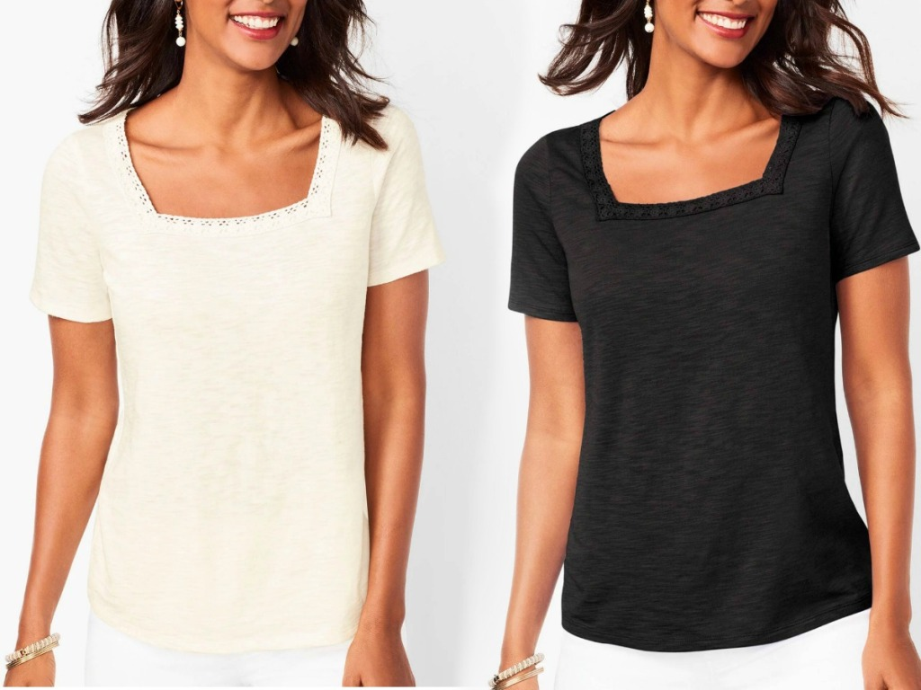 Women wearing a square neck style tee in two colors - ivory and black