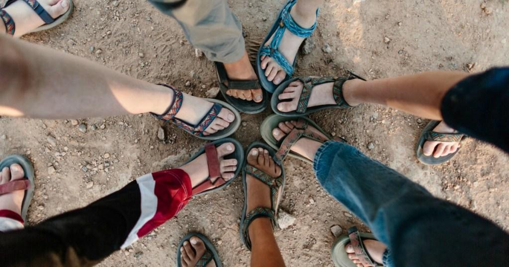Grou of women wearing Teva sandals