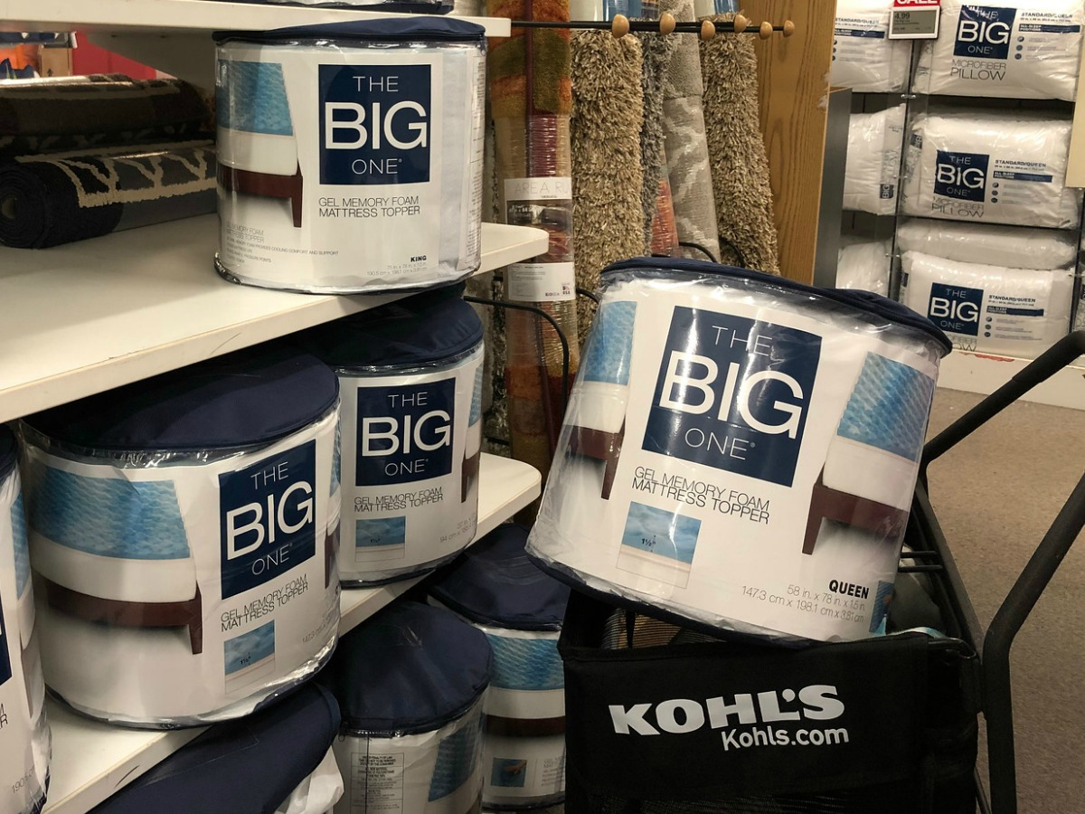 The Big One Memory Foam Mattress pad in package in cart near in-store display