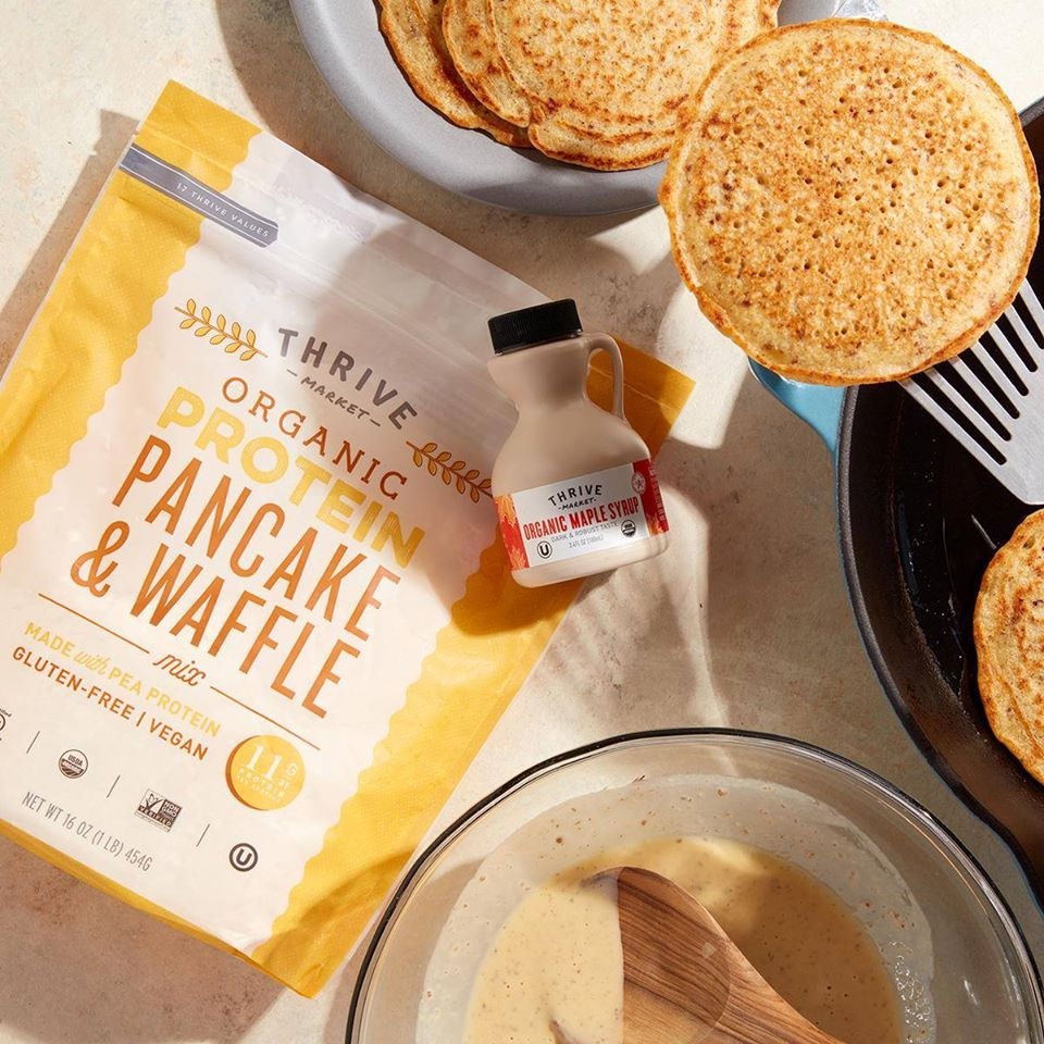 Thrive Market Pancake Mix next to syrup and pancakes