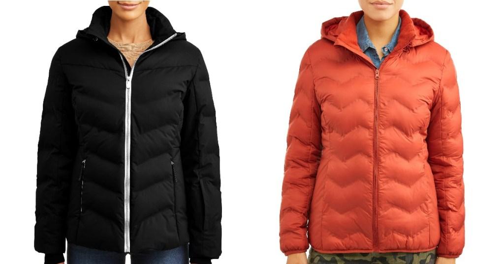 Models wearing Time and Tru Women's Puffer Coats