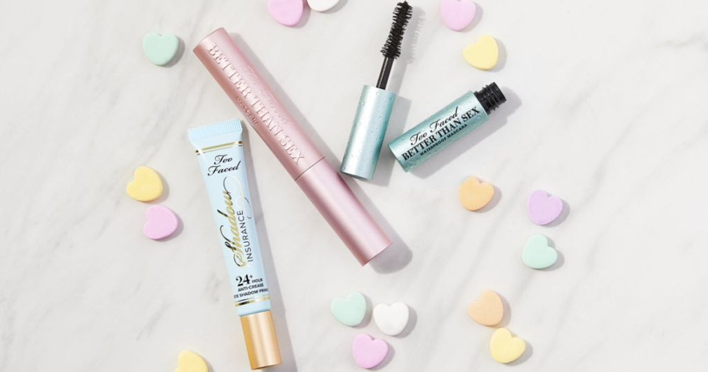 several tubes of Too Faced brand mascaras with Valentine's Day Candy