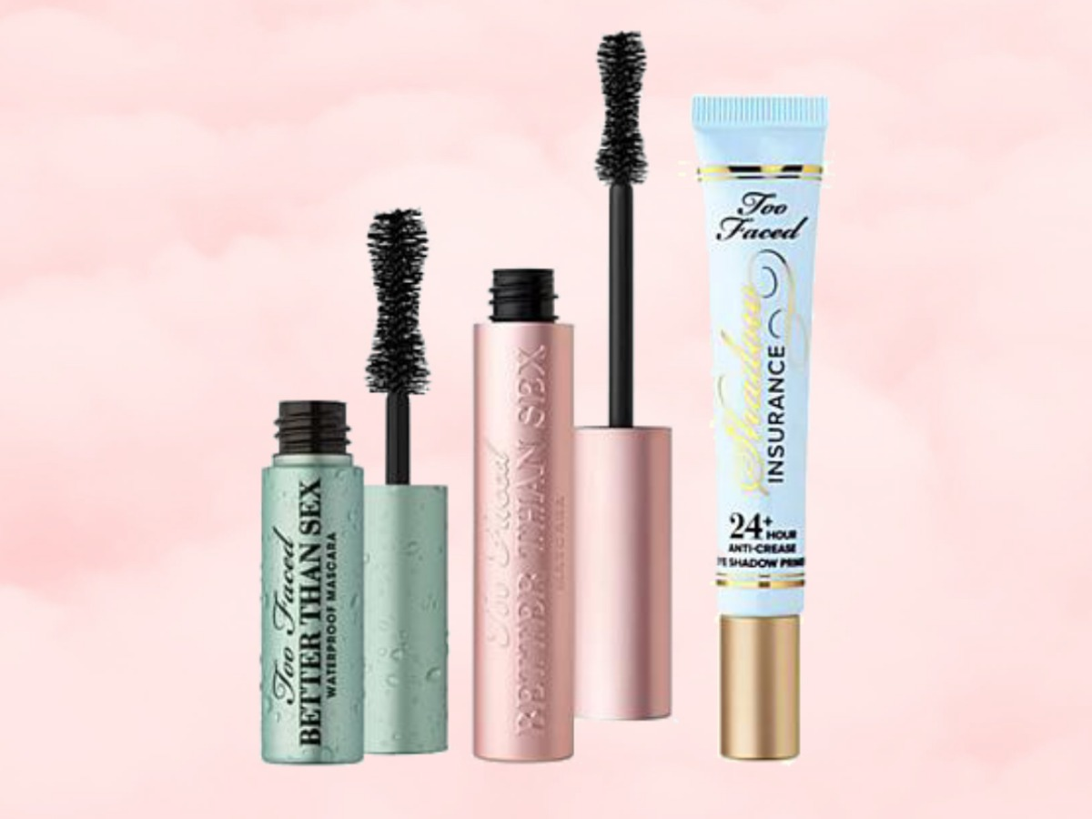 Three beauty products in tubes on pink background