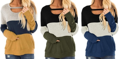 These Women's Color Block Long Sleeve Shirts Have Over 700 5-Star Reviews on Amazon