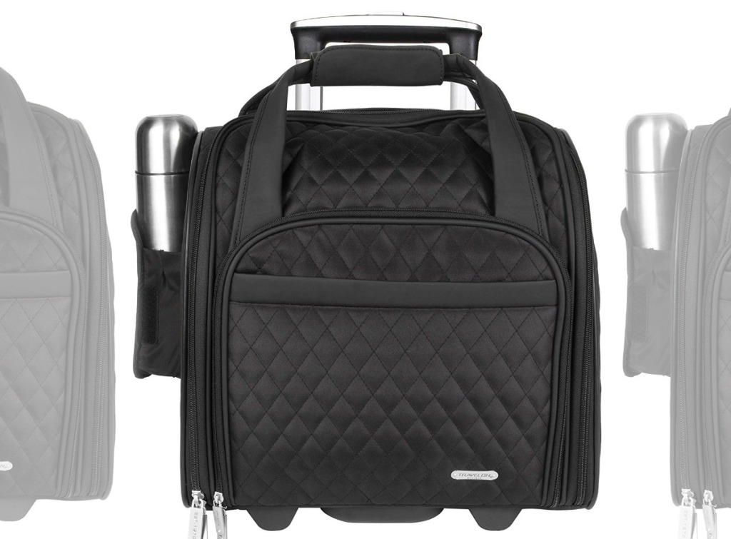 Front view of a wheeled carry on bag from The home depot