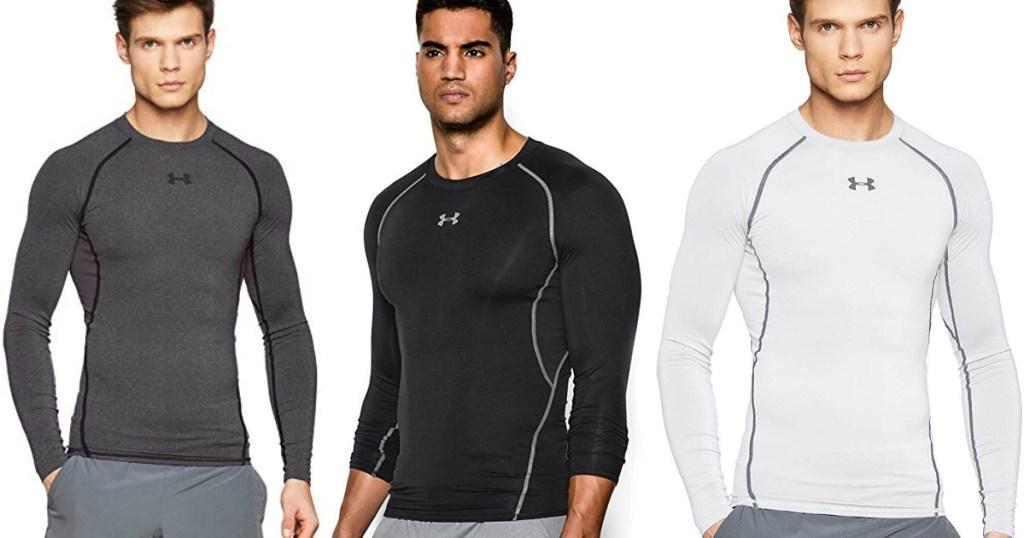 three men wearing an Under Armour HeatGear Shirt