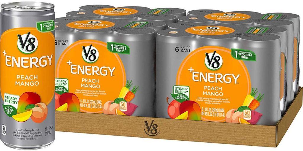 V8 Peach Mango drinks in packaging