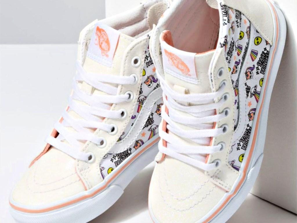 VANS Unicorn Alien Sk8-Hi Zip Glitter & True White Girls Shoes