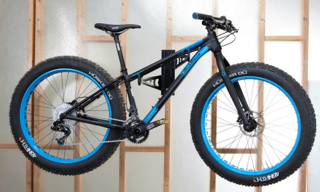 VELO Bike Rack with bike hanging on it in garage