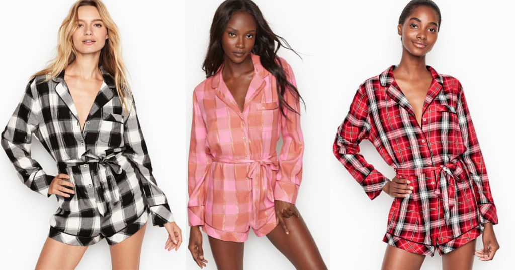 three women wearing Victoria's Secret Flannel Tie Rompers