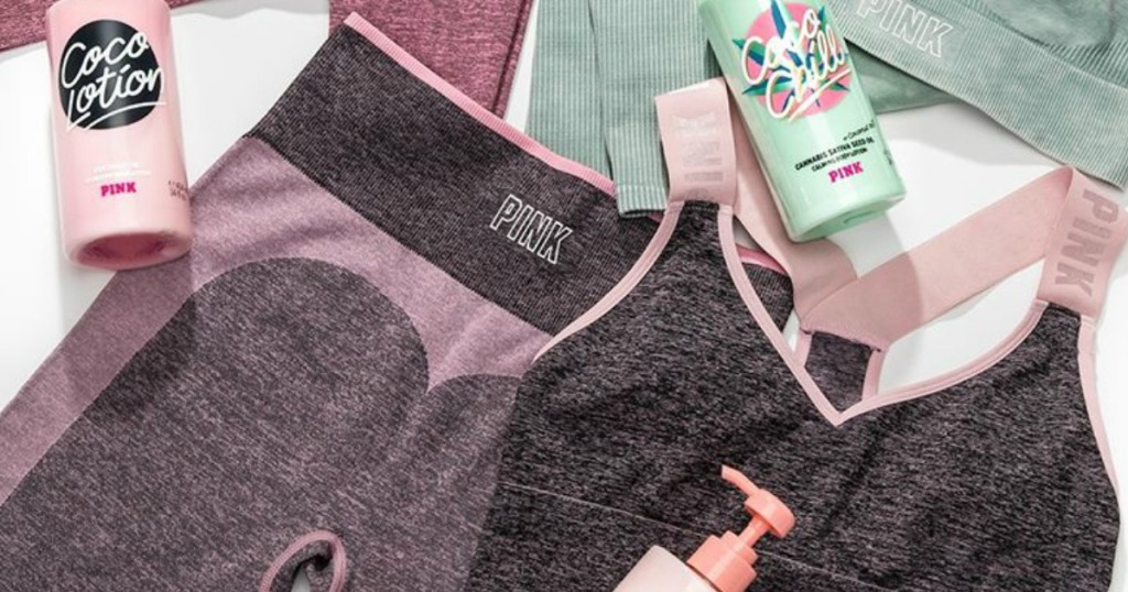 Victoria's Secret workout apparel and water bottles