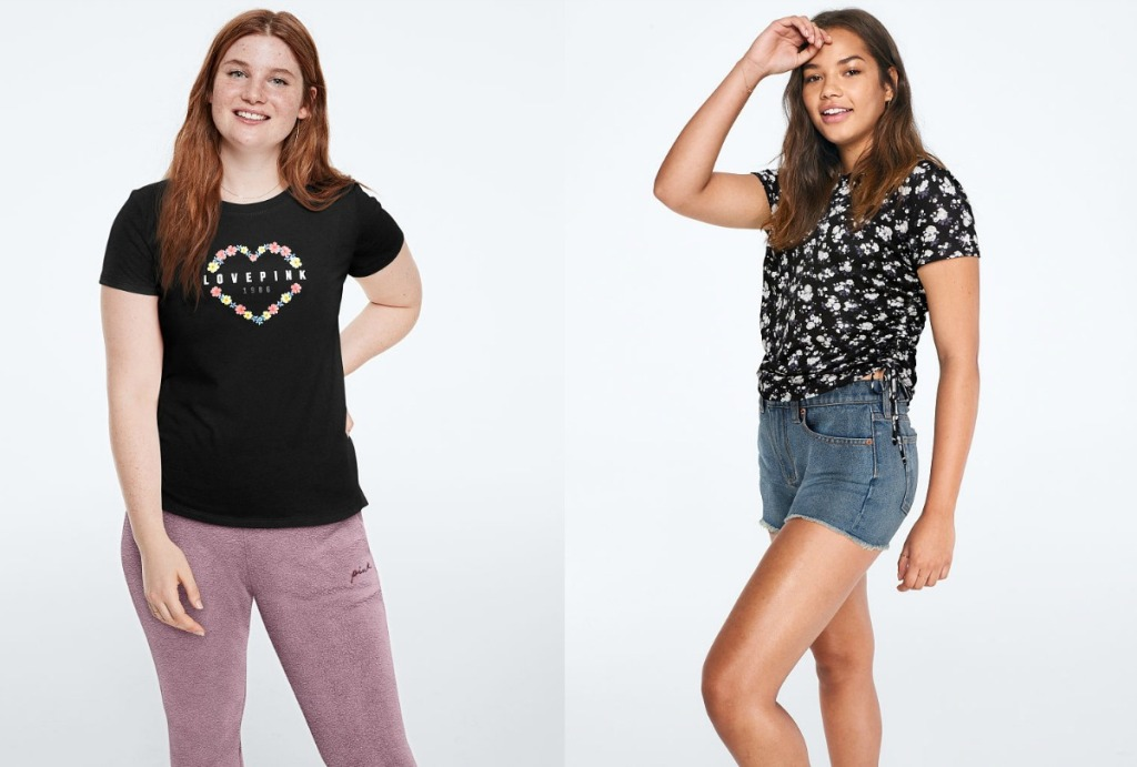 Victoria's Secret Tees modeled by teens
