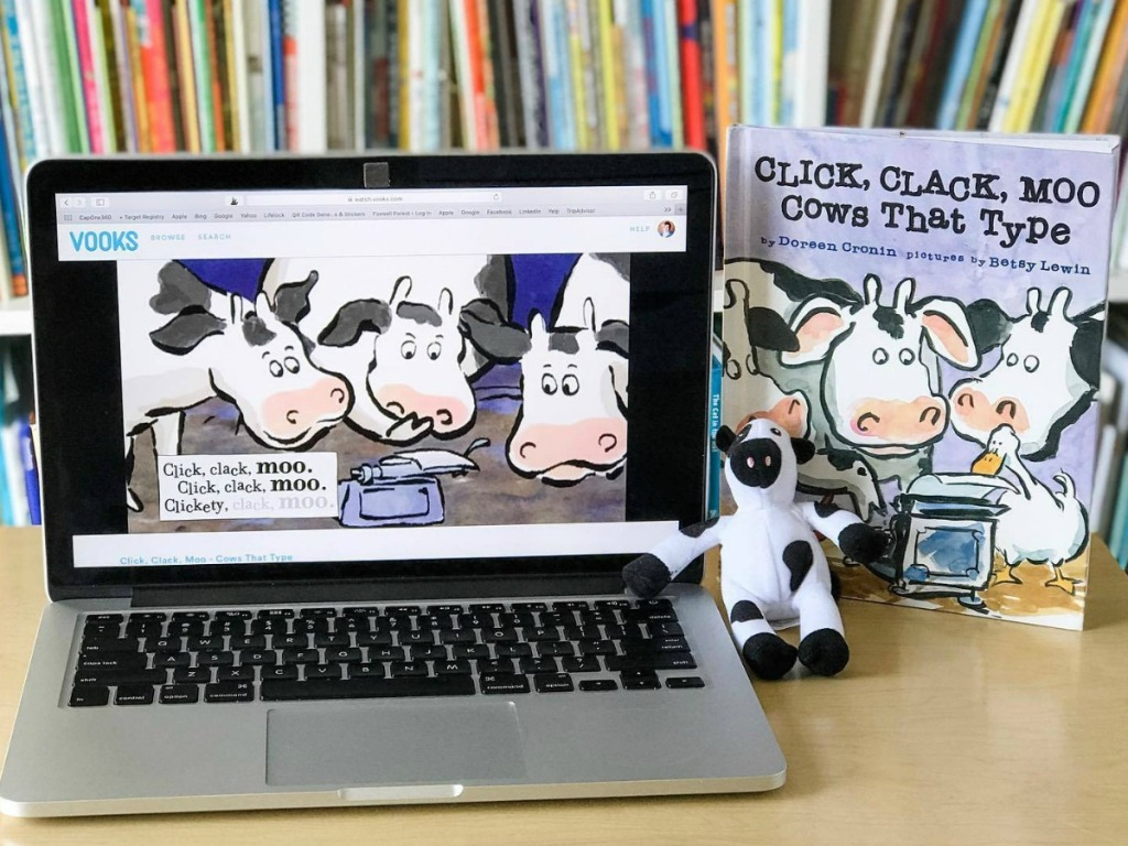 Click, Clack, Moo book with toy and computer with reading app