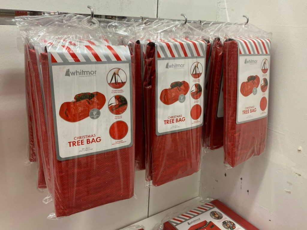 Whitmor storage bags for Christmas trees on rack in store