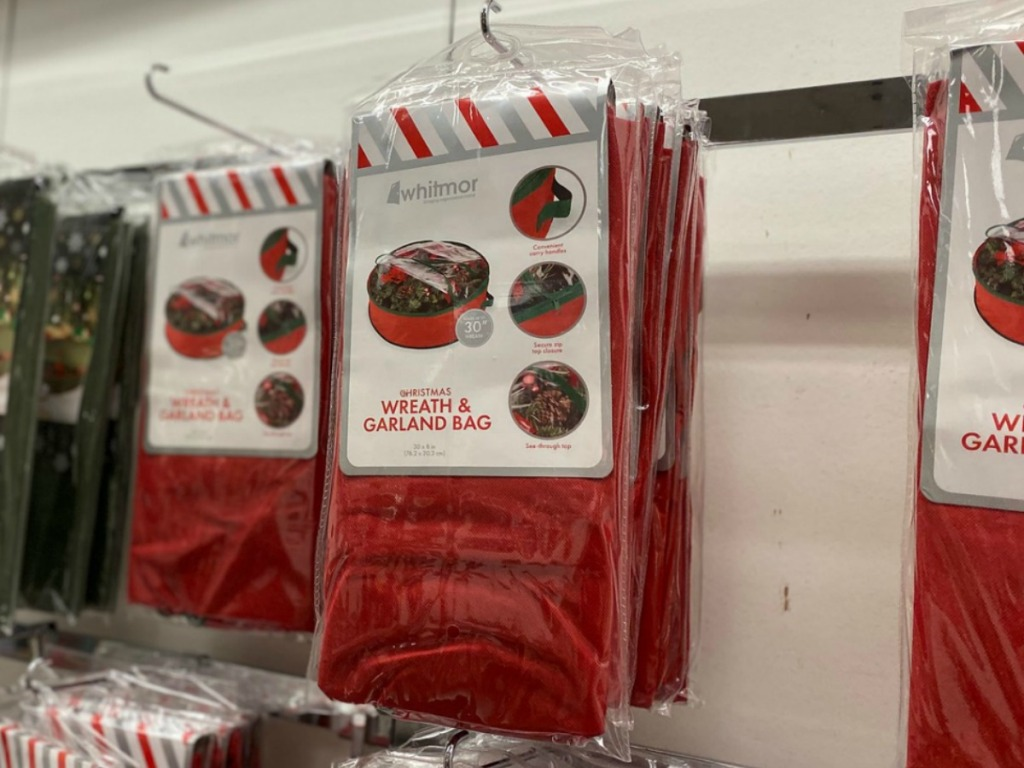 Packages of wreath storage bags hanging up in-store