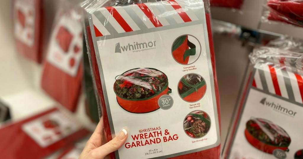 Whitmor brand wreath garland bag in package, in hand, in-store