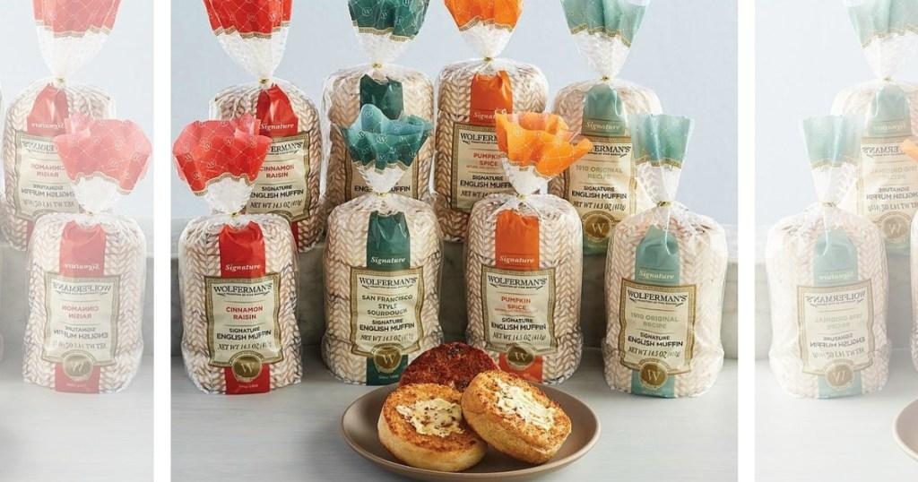 Eight packs of Wolferman's brand English muffins