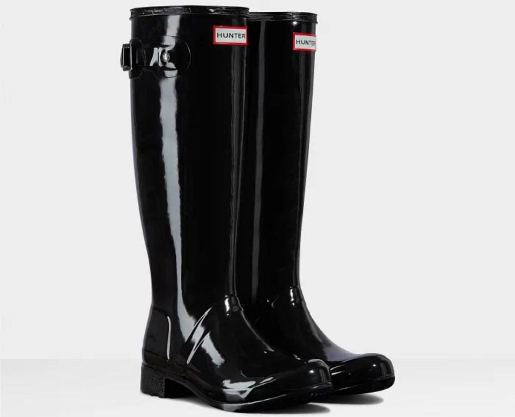 tall black rain boots