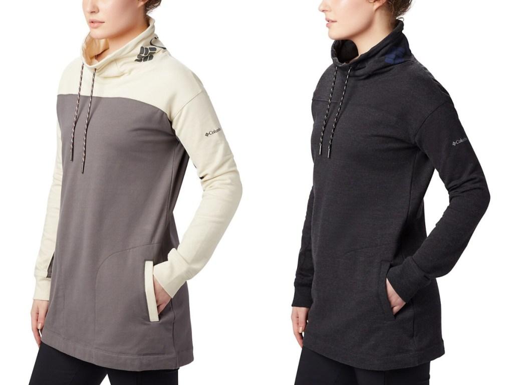 women modeling columbia sweatshirts