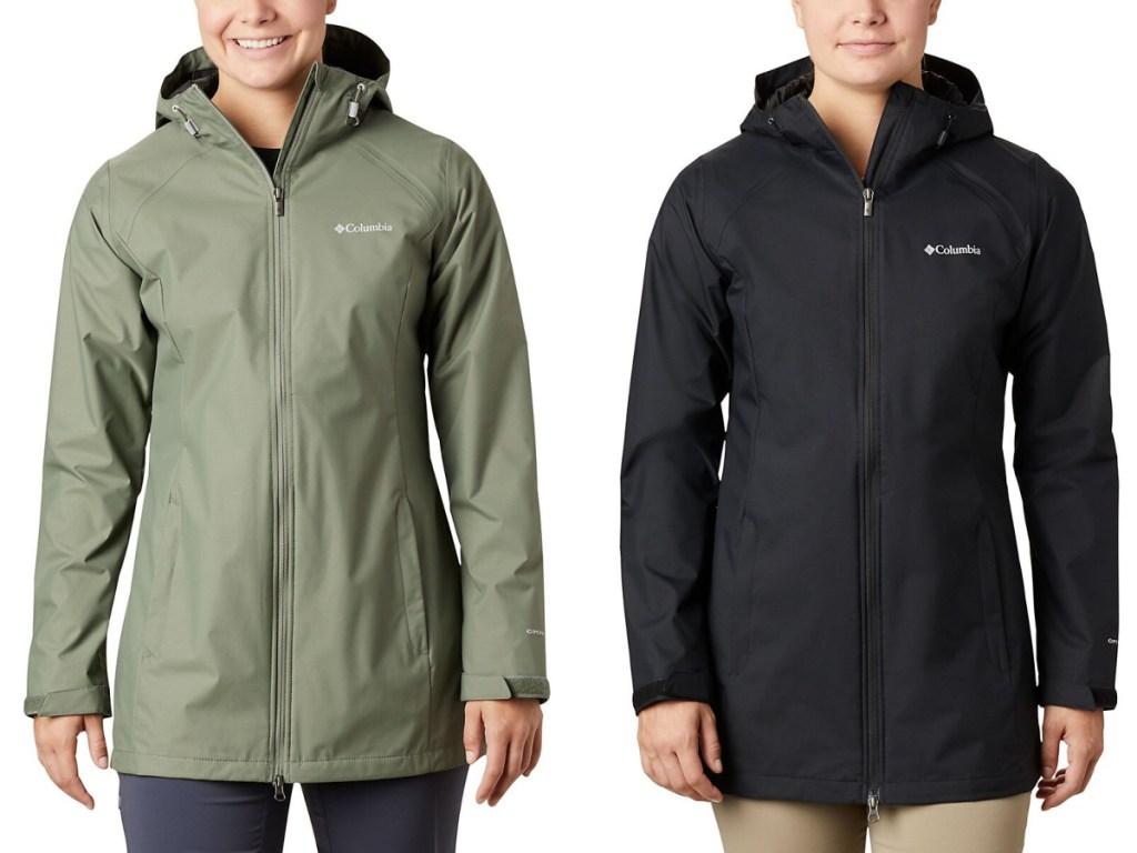 women modeling green and black columbia coats