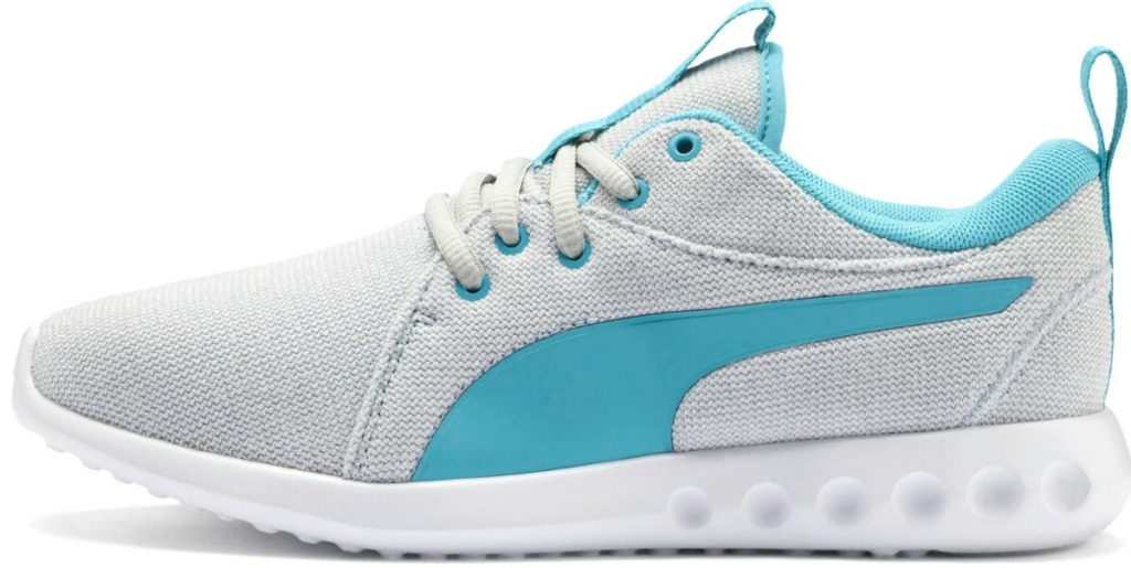 Gray women's athletic shoe with teal markings