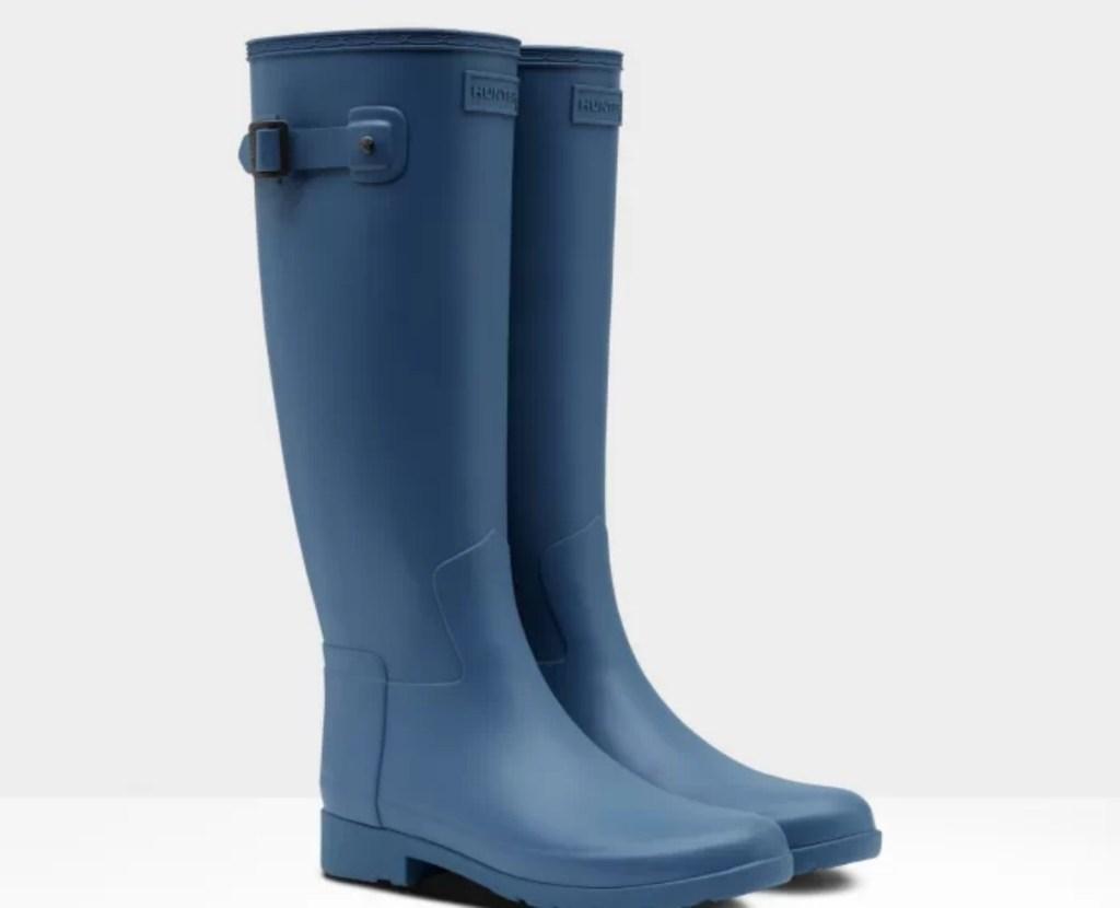 tall blue rain boots