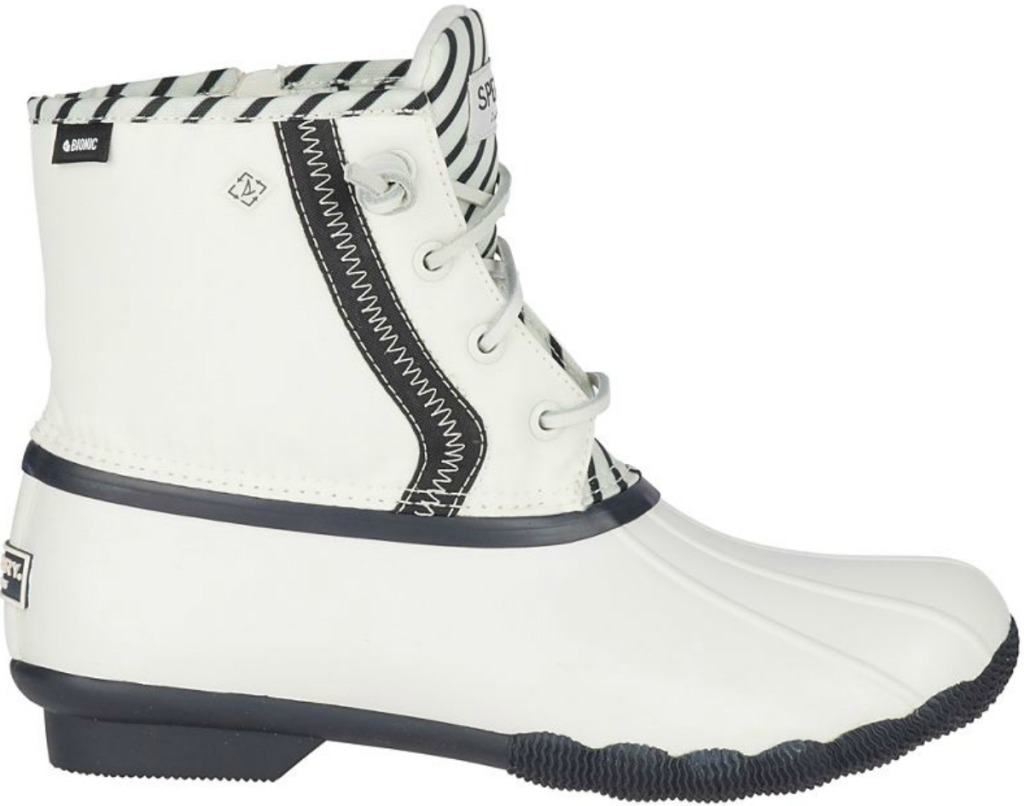 Women's white boots with black lining