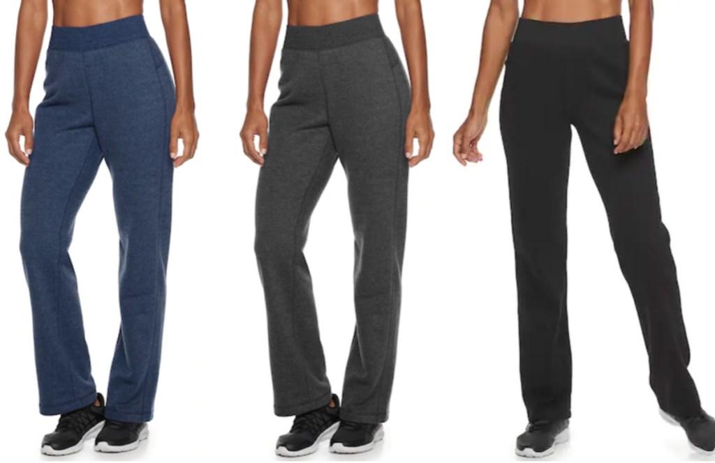 blue, grey, and black Women's Tek Gear® Basic Fleece Pant