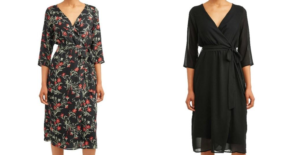Women modeling different styles of Wrap Dress from Walmart