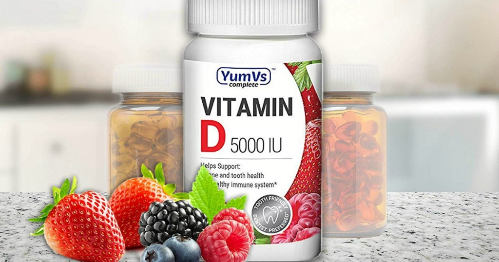 Bottle of Vitamin D Supplements on counter with berries