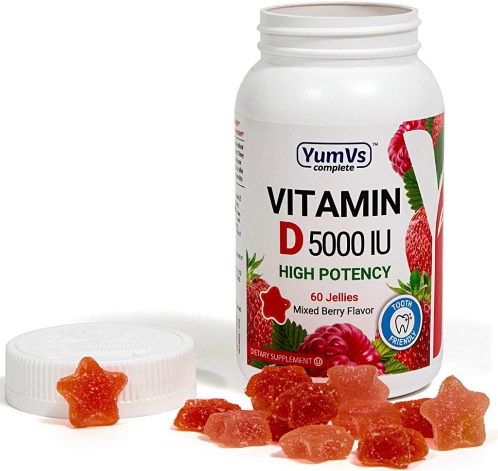 Bottle of Vitamin D supplement gummies